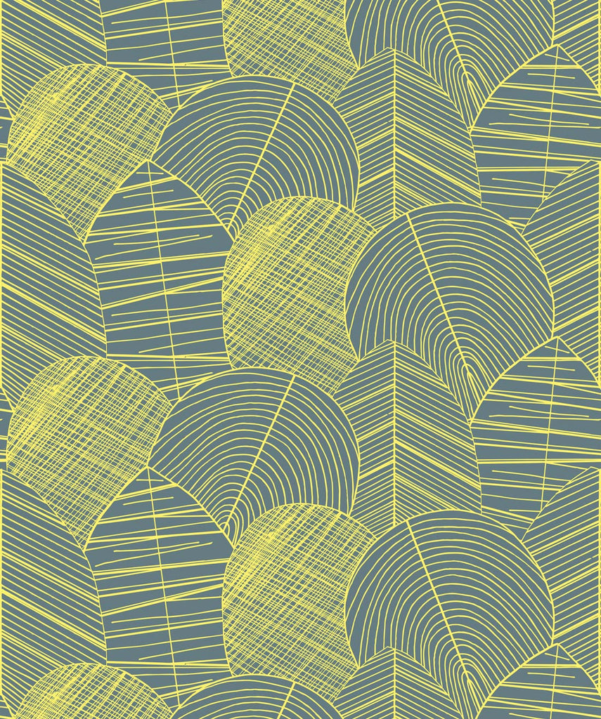 Byronian Hills Wallpaper in Chartreuse from the Wallpaper Republic Collection by Milton & King