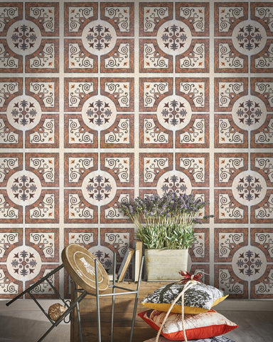 Byzantine Tile Wallpaper in Beige and Grey from the Eclectic Collection by Mind the Gap
