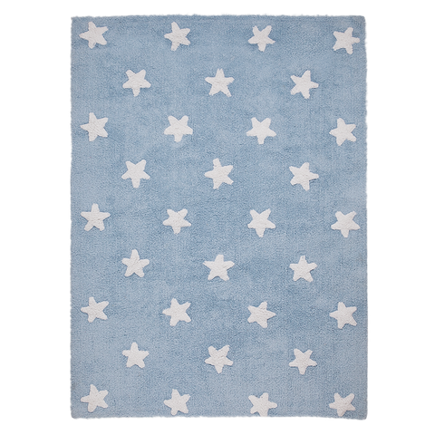 Stars Washable Rug in Blue & White