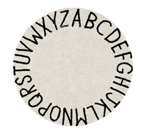 Round ABC Rug in Natural & Black design by Lorena Canals