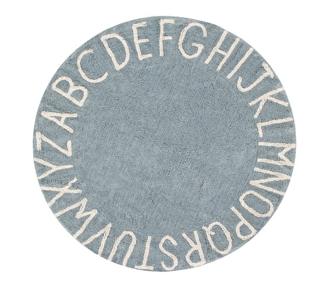 Round ABC Rug in Natural & Vintage Blue design by Lorena Canals
