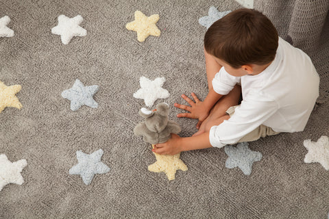 Tricolor Stars Rug in Grey & Blue design by Lorena Canals