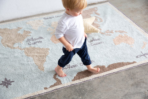 Vintage Map Washable Rug design by Lorena Canals