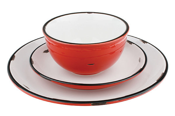 Tinware Salad Plate in Red design by Canvas
