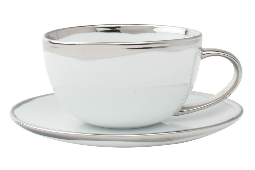 Dauville Platinum Glazed Cup & Saucer design by Canvas