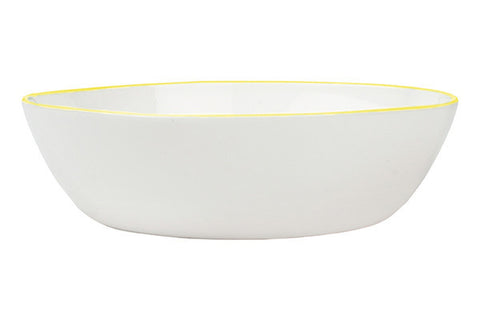 Abbesses Pasta Bowl Yellow Rim design by Canvas