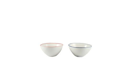 Abbesses Small Bowl with Red or Blue Rim by Canvas - BURKE DECOR