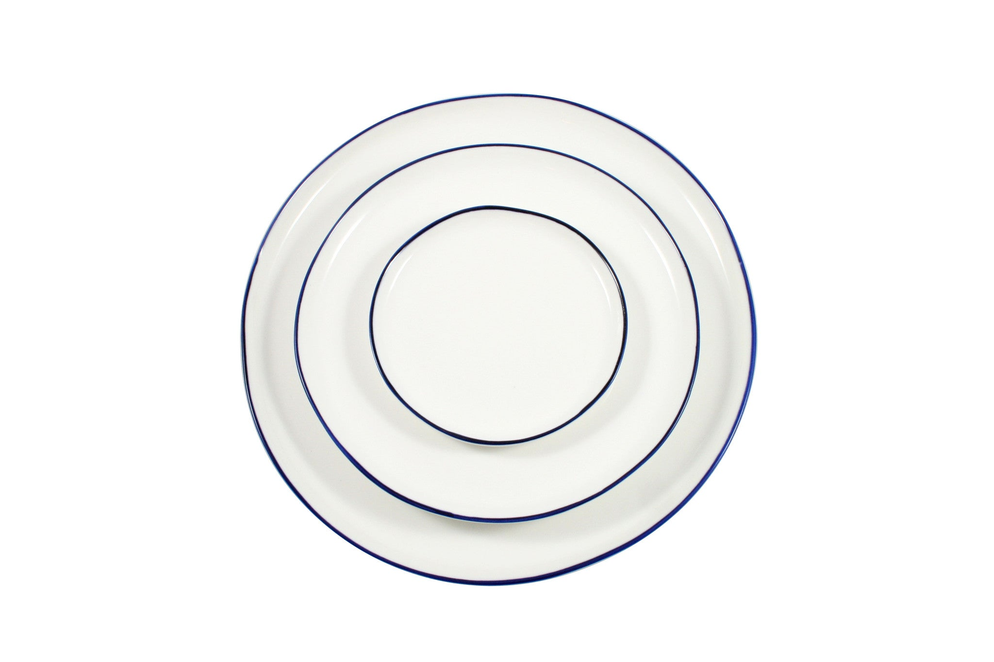 Abbesses Plates with Blue Rim by Canvas
