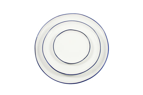 Abbesses Plates with Blue Rim by Canvas - BURKE DECOR