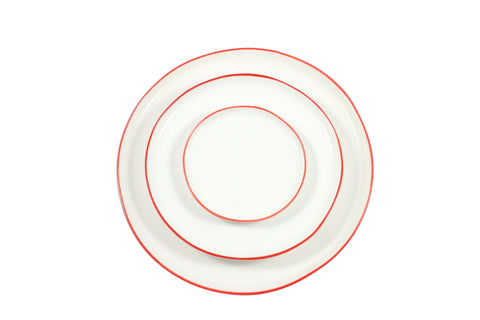 Abbesses Plates with Red Rim by Canvas - BURKE DECOR