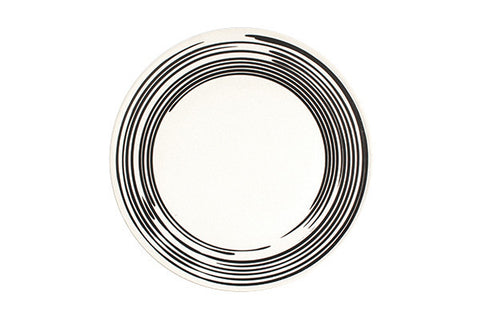 Salamanca Dinner Plate in Black & White Stripe design by Canvas