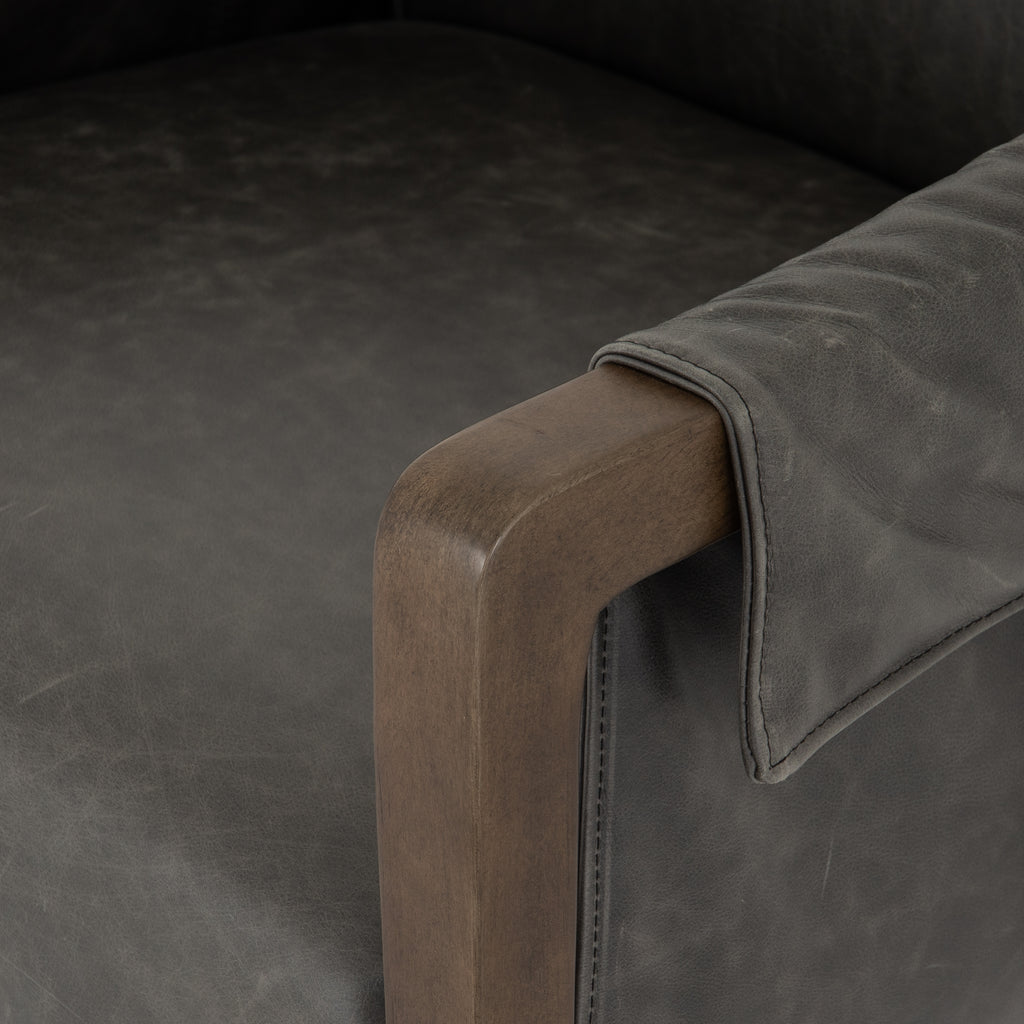 Bauer Leather Chair in Chaps Ebony