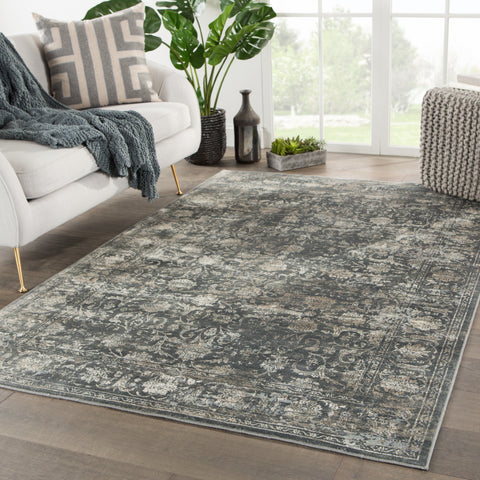 Kachina Floral Blue & Gray Rug design by Jaipur Living