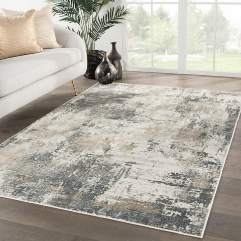 Sisario Abstract Gray & Gold Area Rug