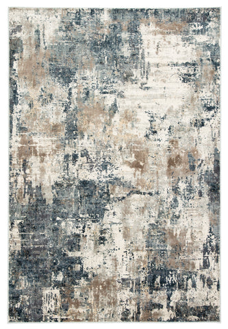 Sisario Abstract Blue & Gray Rug design by Jaipur