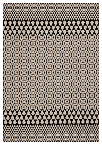Traveller Indoor/ Outdoor Geometric Black & Ivory Area Rug
