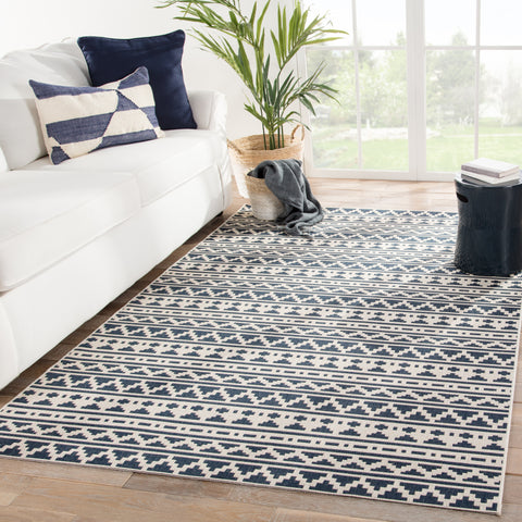 Killick Indoor/ Outdoor Tribal Blue/ Ivory Rug design by Jaipur