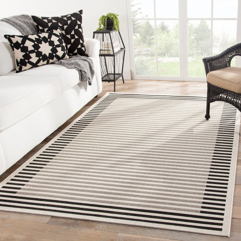 Fathom Indoor/ Outdoor Stripe Ivory & Black Area Rug