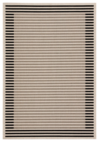 Fathom Indoor/ Outdoor Stripes Ivory/ Black Rug design by Jaipur