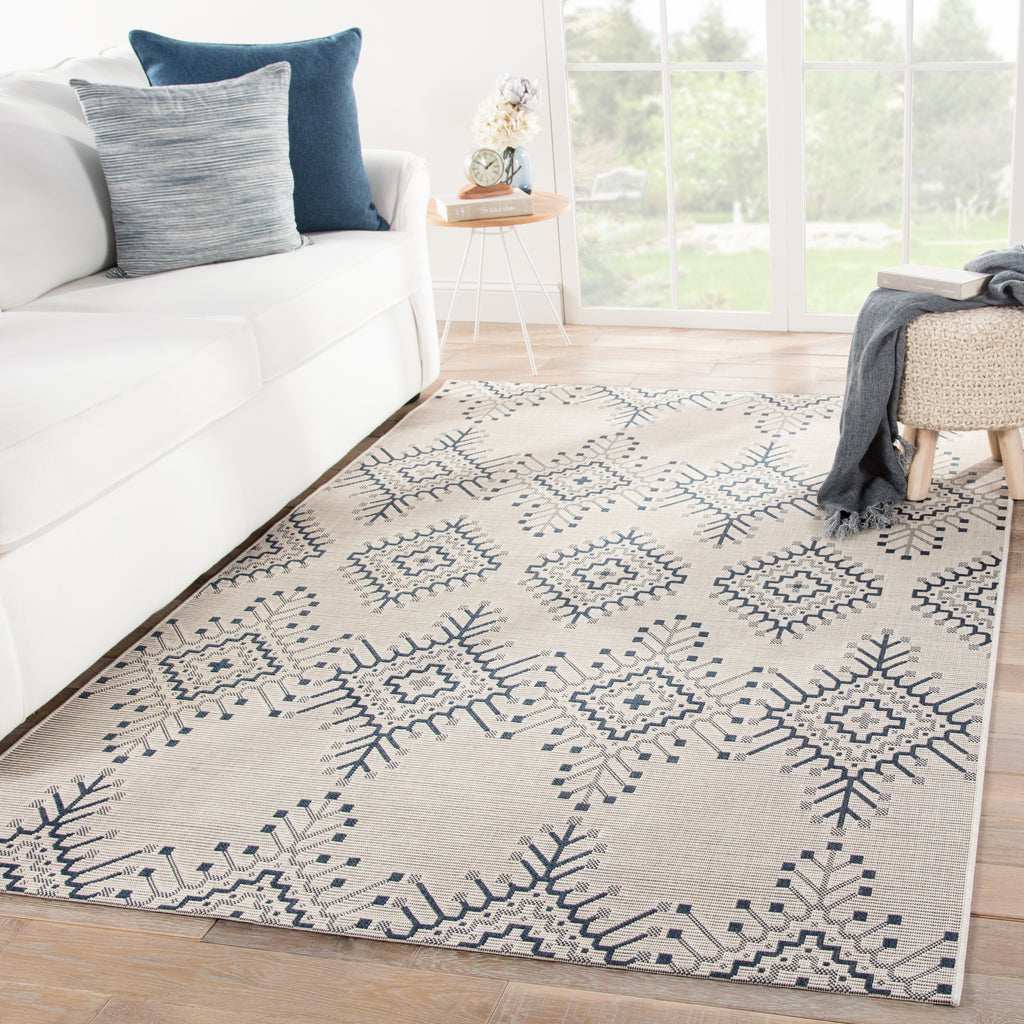 Compass Indoor/ Outdoor Tribal Ivory & Blue Area Rug