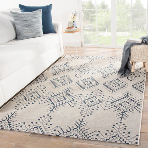 Compass Indoor/ Outdoor Tribal Ivory/ Blue Rug design by Jaipur