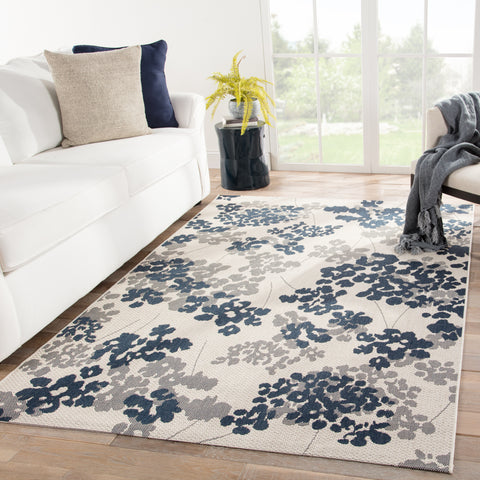 Mariner Indoor/ Outdoor Floral Blue/ Gray Rug design by Jaipur