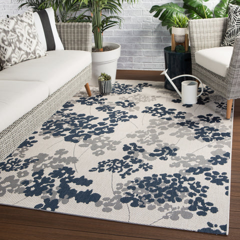 Mariner Indoor/ Outdoor Floral Blue/ Gray Rug design by Jaipur Living