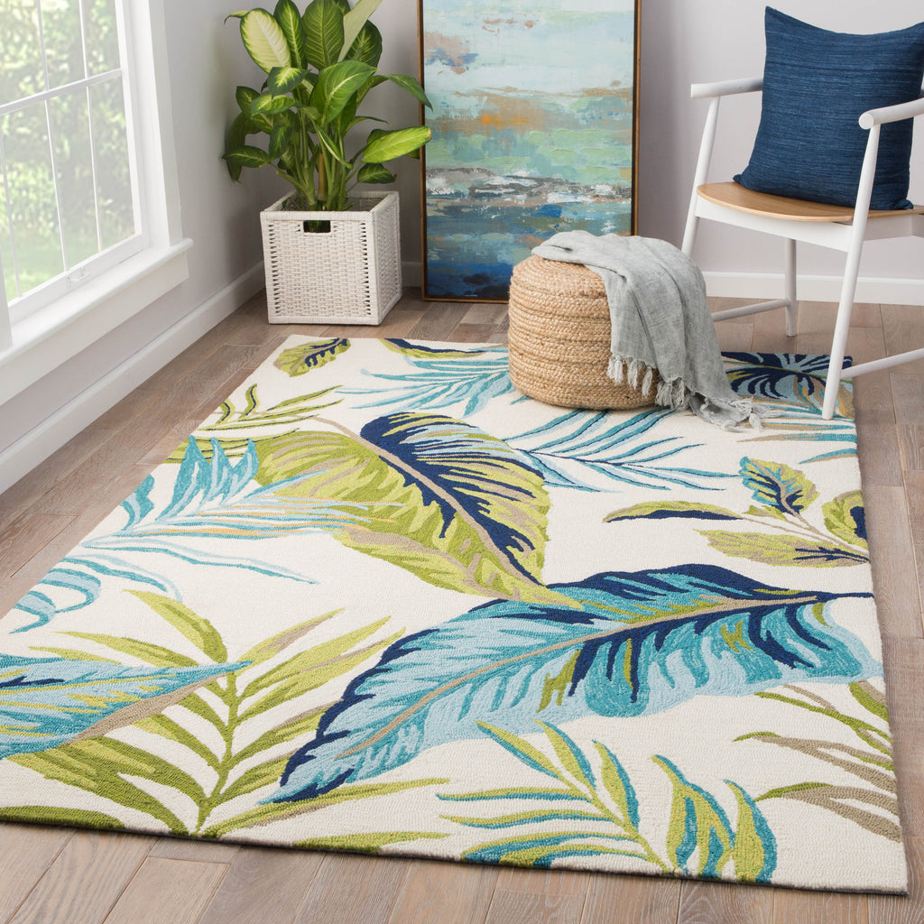 Fraise Indoor/ Outdoor Floral Blue & Green Area Rug design by Jaipur