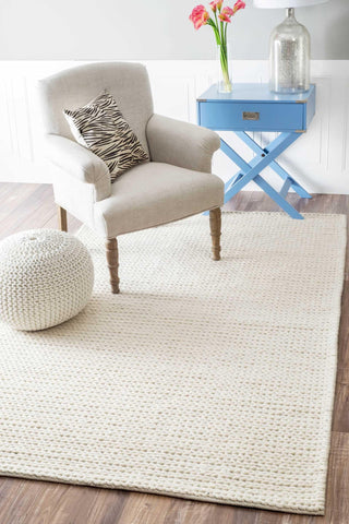 Hand Woven Chunky Woolen Cable Rug in White design by Nuloom