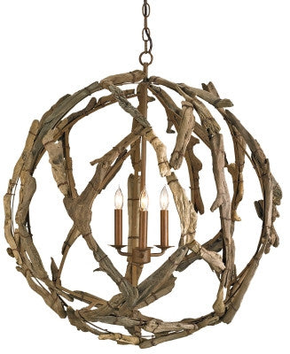 Driftwood Orb Chandelier design by Currey & Company
