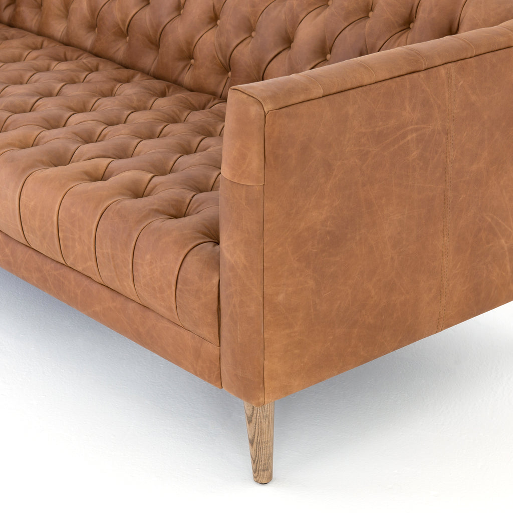 Williams Leather Sofa In Natural Washed Camel