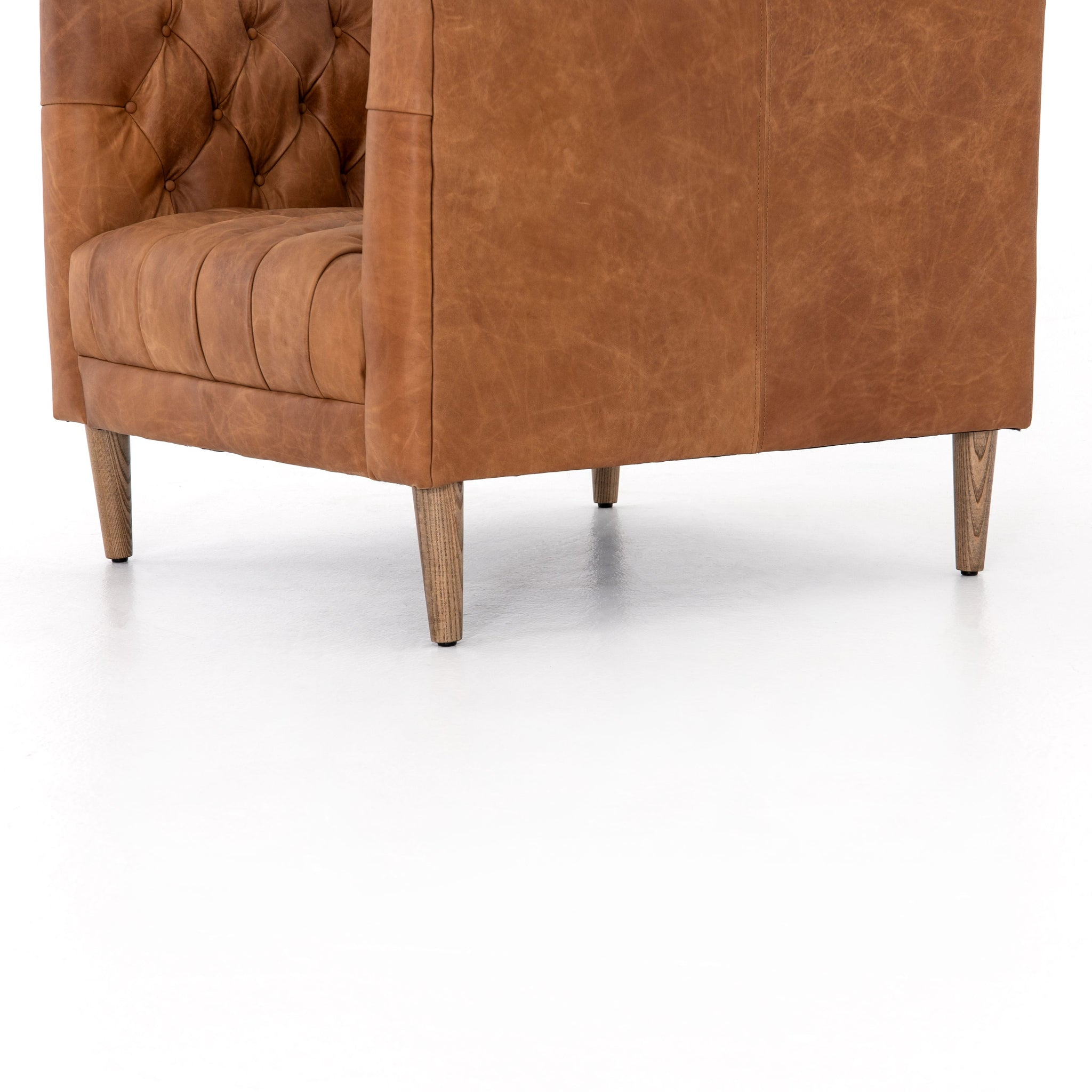 Williams Leather Chair In Natural Washed Camel, By BD Studio