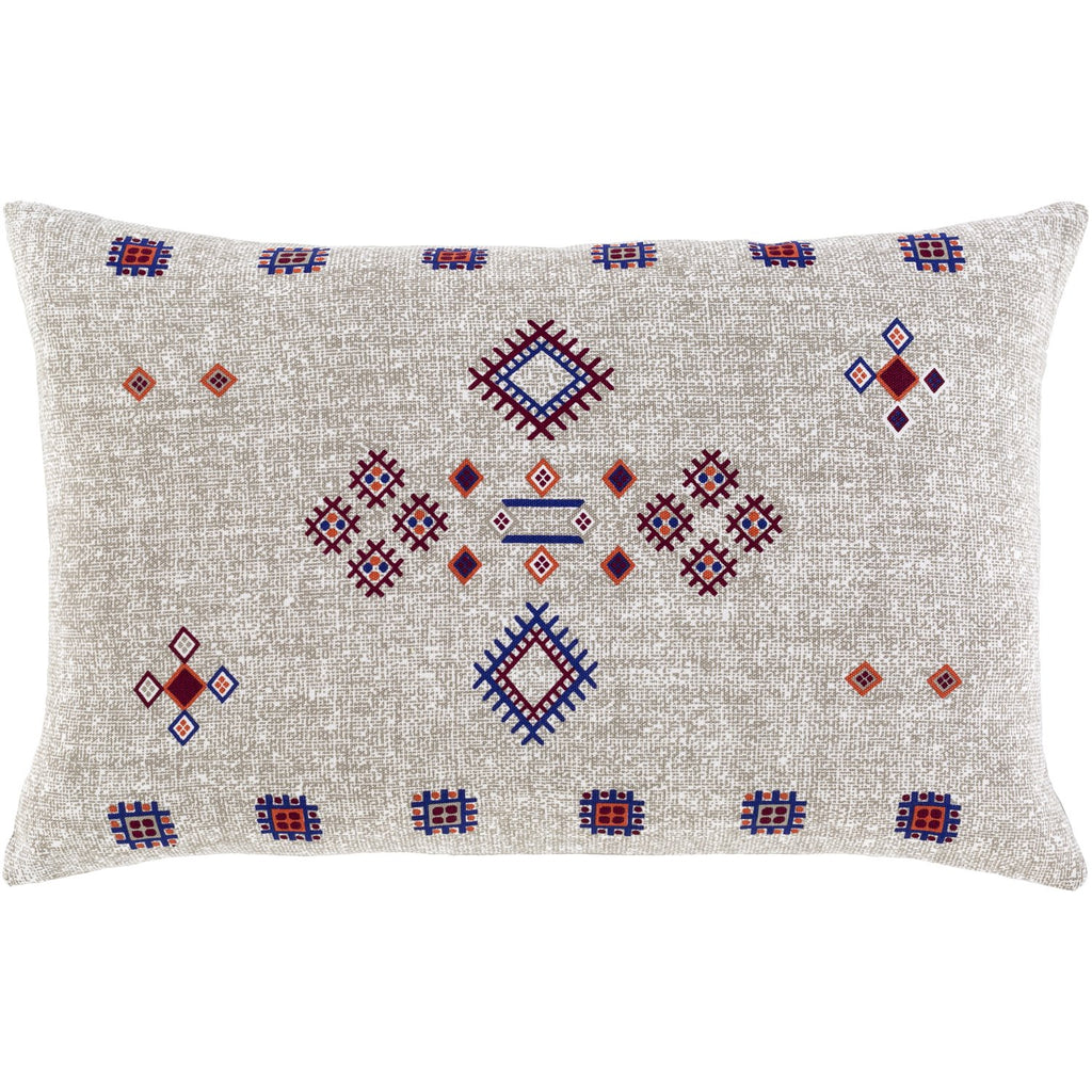 Cactus Silk CCS-007 Woven Lumbar Pillow in Taupe & Dark Red by Surya