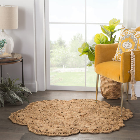 Freesia Natural Floral Beige Area Rug