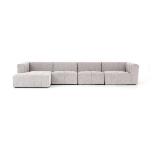 Langham Channelled 4-PC Sectional-Left Arm Facing Sofa in Napa Sandstone design by BD Studio