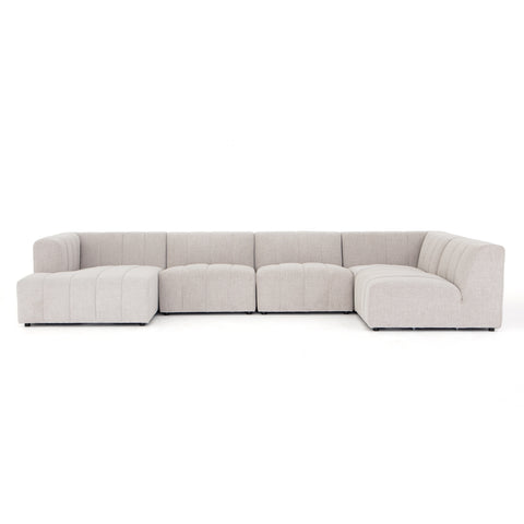 Langham Channelled 5-Piece Left Arm Facing Chaise Sectional