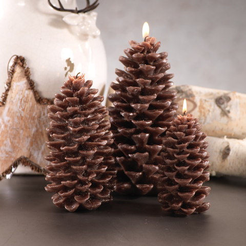 Pine Cone Brown Small Candle, Set of 4