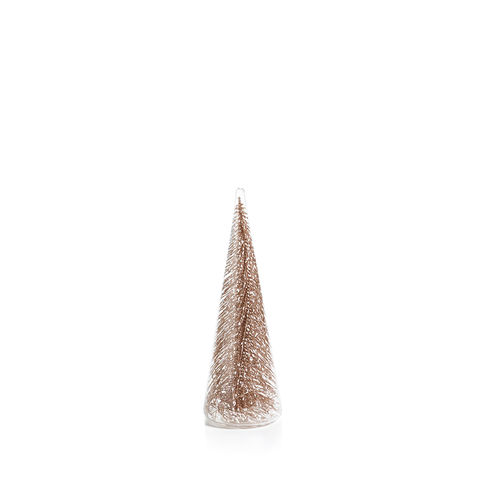 Clear Glass Decorative Tree with Glitter-Champagne