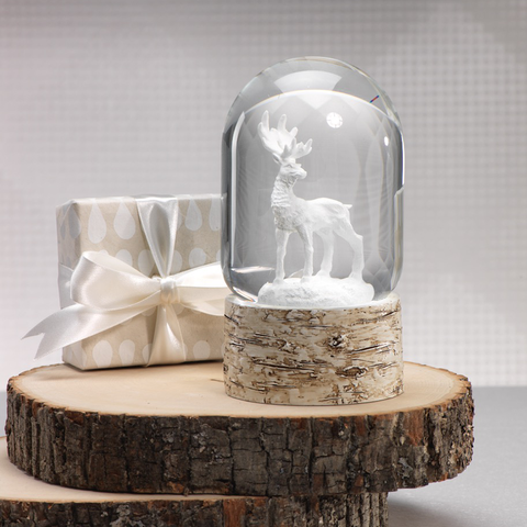 Snow Globe on Birch with White Moose