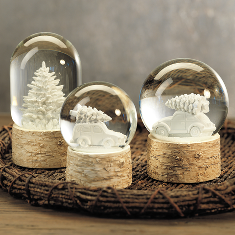 Sculptured White Tree Snow Globe on Birch