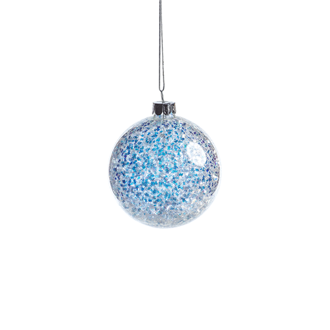 Silver and Blue Sequin Ball Ornament in Various Sizes