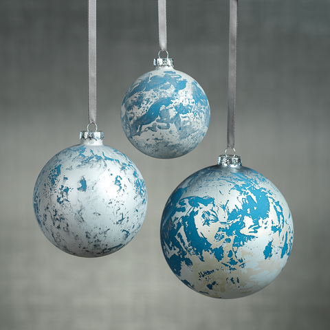 Patch Metallic Ornaments - Silver & Blue in Various Sizes