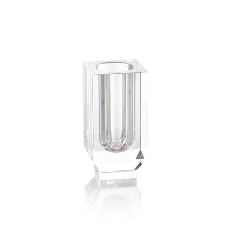 Carina Crystal Vase in Pink