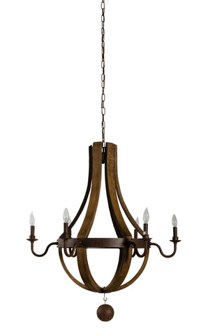 Wood Barrel Chandelier design by Jamie Young
