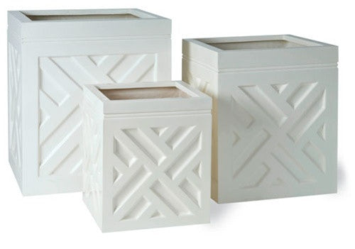 Chippendale Planters in Weathered White design by Capital Garden Products