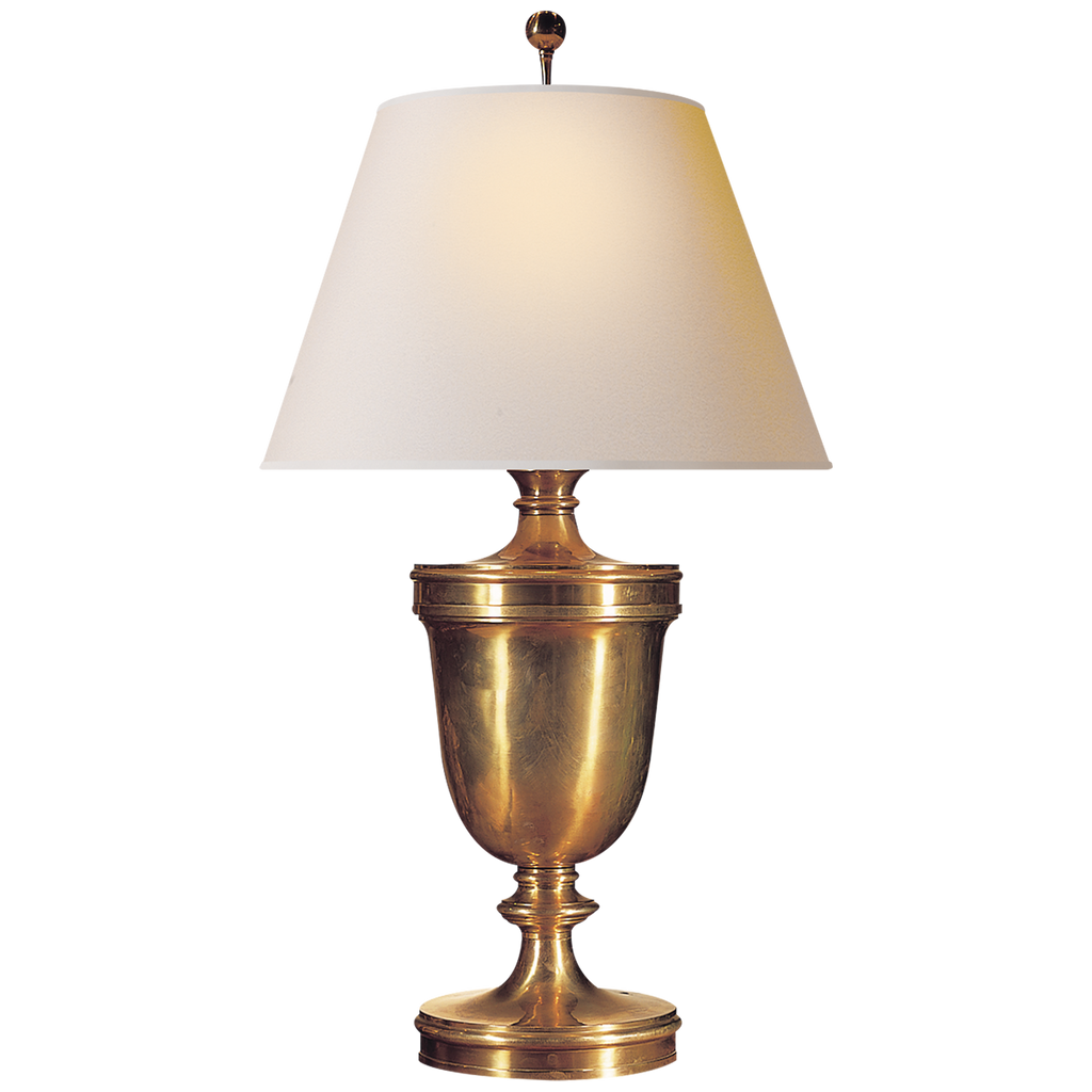 Classical Urn Form Large Table Lamp in Antique-Burnished Brass with Natural Paper Shade