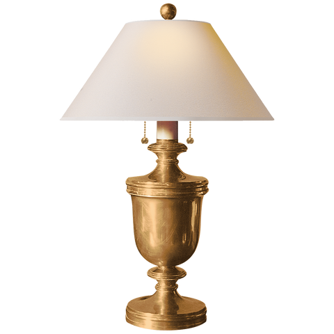 Classical Urn Form Medium Table Lamp with Natural Paper Shade by Chapman & Myers