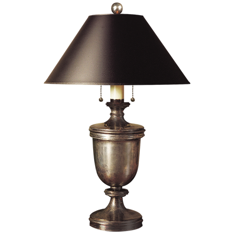 Classical Urn Form Medium Table Lamp with Black Shade by Chapman & Myers