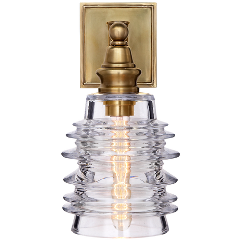 Covington Sconce with Clear Ribbed Wide Glass by Chapman & Myers