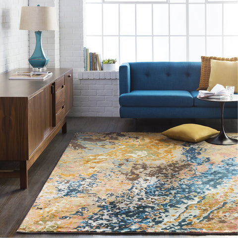 Chemistry CHM-2002 Hand Knotted Rug in Navy & Camel by Surya